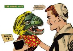 Original Collage Art on Paper T Rex Dinosaur Weird Love Tyrannosaurus Rex Comic Book TRex