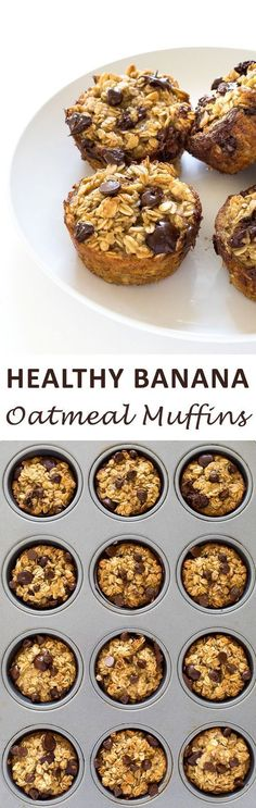 Healthy Fit Banana oatmeal muffins - I'd turn these into vegan muffins - easy - Healthy Banana Chocolate Chip Oatmeal Muffins. A freezer friendly breakfast or snack option! Vegan Muffins, Healthy Muffins, Healthy Breakfast Recipes, Healthy Snacks, Healthy Recipes, Mini Muffins, Healthy Breakfasts, Banana Oatmeal Muffins, Oatmeal Scotchies