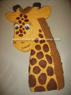 Awesome DIY Birthday Cake Ideas for the Homemade Cake Decorating Enthusiast Giraffe Birthday Cakes, Giraffe Birthday Parties, Safari Theme Birthday, Giraffe Cakes, Diy Birthday Cake, Animal Birthday, 8th Birthday, Giraffe Head, Birthday Ideas