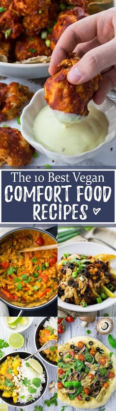 Sometimes we just need some delicious comfort food! Isn't it nice to come home after a long and hard day and enjoy a yummy and comforting meal?! This roundup includes some of my favorite vegan comfort recipes like vegan one pot pasta, lasagna, vegan pizza, vegan curry, vegan chili cheese fries, and cauliflower wings. Big YUM!! <3 | veganheaven.org