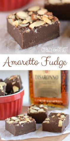Amaretto Fudge - perfect for your sweetheart! A rich easy-to-make chocolate fudge infused with the almond flavored amaretto. The perfect adult sweet! Fudge Recipes, Candy Recipes, Sweet Recipes, Dessert Recipes, Lunch Recipes, Pasta Recipes, Crockpot Recipes, Easy Chocolate Fudge, Homemade Chocolate