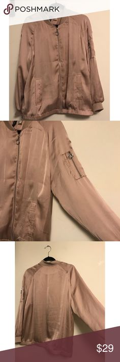 Millennium Pink Satin Jacket 🐙 Worn one time! Perfect condition!!! 🐙 the coolest shade of pastel pink H&M Jackets & Coats Utility Jackets