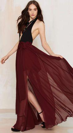 Burgundy sheer maxi skirt