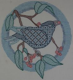 Inspiration, blog about this work.  Blackwork Bird good idea, tracing a drawing you like then making fillers, got plenty of both!