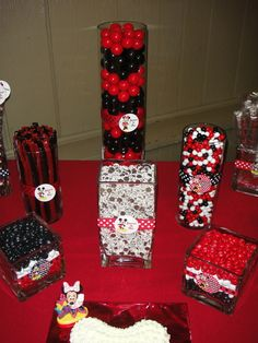 Red, white and black candy at a Mickey Mouse Party #mickeymouse #candy