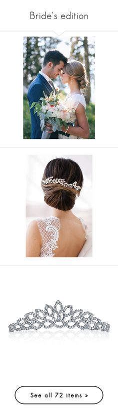 """""""Bride's edition"""" by allison-orth ❤ liked on Polyvore featuring dresses, wedding dresses, accessories, hair accessories, gold, bridal comb, bride hair accessories, crystal hair comb, crystal hair accessories and pearl hair comb"""