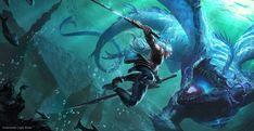 海底光刃 Underwater Light Blade, tian zi on ArtStation at https://www.artstation.com/artwork/underwater-light-blade