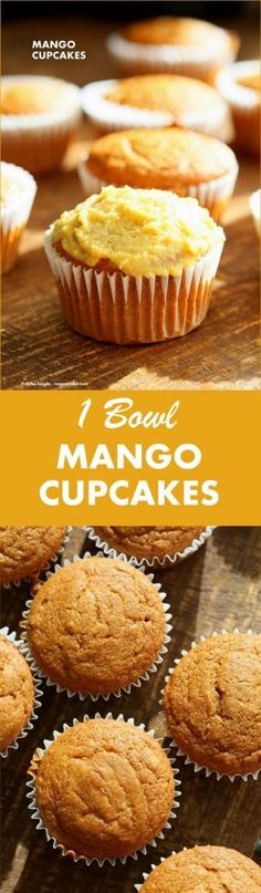 One Bowl Vegan Mango Cupcakes. Easy Mango Cupcake or Cake Recipe. Whisk up the dry ingredients. Add in mango puree and bake. Easy tropical cupcakes. Frost with frosting of choice. #Vegan #cake #mango #Recipe   VeganRicha.com