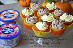 pumpkin chocolate chip cupcakes with cool whip frosting