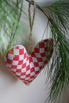Red and White Heart Christmas Decoration/Ornament - Antique Fabric - Favor - Hostess Gift. $12.00, via Etsy.