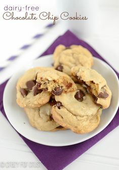 Dairy Free Chocolate Chip Cookies. For those lactose intolerant. I think I would just use margarine instead of vegetable oil. But these look light and fluffy.