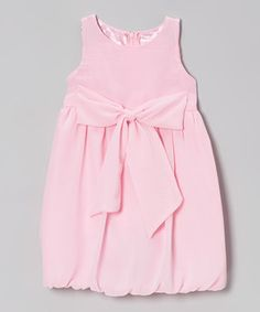 Look at this #zulilyfind! Blueberry Twirl Light Pink Bow Rachel Bubble Dress - Toddler & Girls by Blueberry Twirl #zulilyfinds
