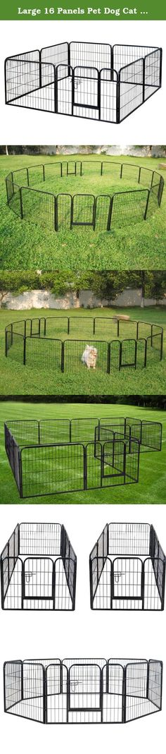 "Large 16 Panels Pet Dog Cat Metal Exercise Barrier Fence Playpen Kennel Yard New. Descriptions This 24"" 16 Panels Heavy Duty Pet Playpen is the must have for your dog, it is easy to set up and you have tons of way to set it up both indoor or outdoor. This exercise metal playpen is a must have for any dog lovers. Have peace of mind to contain your pet within the enclosure. You can connect more playpens together to cover a larger area. Durable construction make this fence stronger for years…"