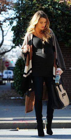 Blake Lively dresses her baby bump in a blanket coat + black sweater + black skinny jeans