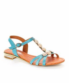 Another great find on #zulily! Blue Embellished Sandal #zulilyfinds