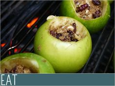 Grilled apples on the bbq, like apple pie without the pastry. Yum