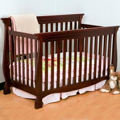 Storkcraft Carrara 4 in 1 Fixed Side Convertible Crib in Black Convertible Furniture, Convertible Crib, Types Of Furniture, Baby Furniture, 4 In 1 Crib, Youth Rooms, Bed Rails, Baby Room Decor, Baby Rooms