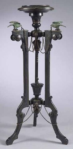 Killian Brothers / American Aesthetic Ebonized and Gilt-Incised Fern Stand Victorian Furniture, Antique Furniture, Dream Furniture, Black Furniture, Furniture Ideas, Victorian Gothic, Victorian Homes, Importance Of Art, Aesthetic Movement