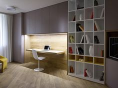 Contemporary Home Office Design Ideas - Browse pictures of contemporary office. Discover inspiration for your stylish home office design with ideas for style, storage space and furniture. Contemporary Apartment, Contemporary Interior Design, Office Interior Design, Office Interiors, Office Designs, Contemporary Office, Contemporary Stairs, Contemporary Building, Contemporary Cottage