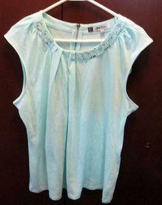 Jennifer Lopez Blue top with Beading Sz XL zip Back Excellent condition