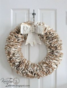 Book Page Wreath - I have pages from old books coming out my ears, so in my quest to use of some of them, I created 2 wreaths from some antique German pages. On…