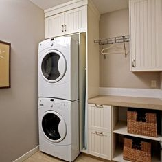 Laundry Room Stackable Washer Dryer Design Ideas, Pictures, Remodel and Decor