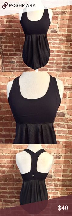 Lululemon Y Back Cinch Waist Black Tank Sz 6 EUC lululemon Tank with built in bra! Bra pads are missing! No visible flaws! lululemon athletica Tops Tank Tops