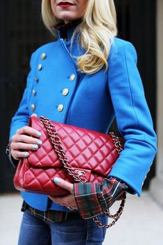 Atlantic-Pacific is a fashion and personal style site by Blair Eadie. Chanel Maxi, Chanel Fashion, Chanel Bag Classic, Blazers, Atlantic Pacific, Fashion Sites, Fashion Bloggers, Plaid Outfits, Red Handbag