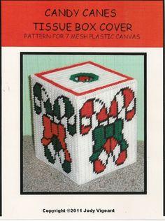 Free Plastic Canvas Tissue Box Patterns | Plastic Canvas Candy Cane Tissue Box Cover | Needlecraft Super Shop