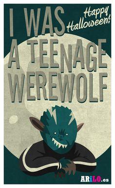 Teenage Werewolf, Horror Films, Happy Halloween, Illustration, Classic, Movie Posters, Movies, Art, Illustrations