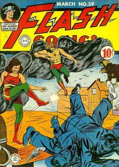Flash Comics #39 (Mar '43) cover by Sheldon Moldoff. #comics #Hawkman #Hawkgirl