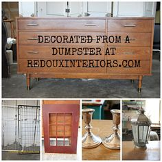 Decorate from a Dumpster.  Trashy Tuesday weekly Dumpster Diving Series.  Check out what I found in and around a Dumpster this week!  REODUXINTERIORS.COM FACEBOOK: REDOUXINTERIORS