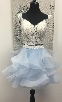 two piece short homecoming dress prom dress, 2018 prom dress, white and light sky blue short homecoming dress prom dress Best Prom Dresses, Prom Outfits, Plus Size Prom Dresses, Homecoming Dresses, Grad Dresses, Dress Prom, Party Dresses, Long Formal Gowns, Formal Evening Dresses