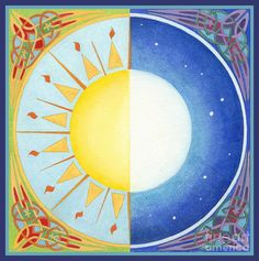 Celtic Equinox Sun And Moon by Melissa A Benson