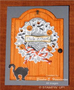 Halloween door by Sandra Hanedanian, I had this little wreath all decorated for over a month and just last night went to play... I love making doors of all kinds and this is one of my favs.. . Basic Grey card base, Pumpkin Pie door and wreath stamped in Smokey slate and basic grey. Also colored the rhinestones in matching colors on the wreath.... I love how we can color our bling!! TFL!