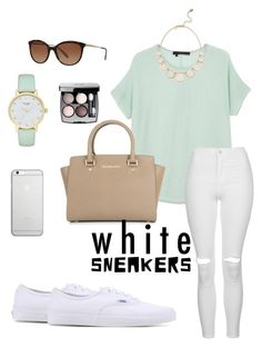 """White sneakers"" by xiloveyoustyles on Polyvore featuring moda, 360 Sweater, Topshop, Vans, Michael Kors, Native Union, Kate Spade, Tiffany & Co. e Chanel"