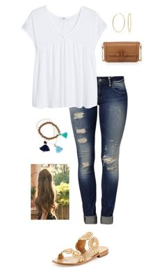 """"""""""" by gabbbsss ❤ liked on Polyvore featuring Mavi, MANGO, Bling Jewelry, Jack Rogers and Tory Burch"""