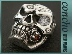 concho/Skull/Solid Silver Skull with Zirconium/WILD HEARTS leather&silver  http://item.rakuten.co.jp/auc-wildhearts/con1013/