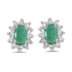 14k Yellow Gold May Birthstone Oval Emerald And Diamond Earrings