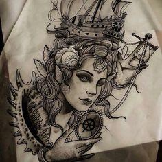 Desenho tattoo face, woman, shells, ship, boat, sea, anchor, compass