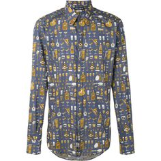 Dolce & Gabbana musical instrument print shirt (€725) ❤ liked on Polyvore featuring men's fashion, men's clothing, men's shirts, men's casual shirts, blue, mens blue leopard print shirt, mens longsleeve shirts, mens blue shirt, mens long sleeve collared shirts and mens long sleeve casual shirts