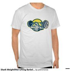 Shark Weightlifter Lifting Barbell Mascot Tee Shirt