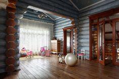 Детская комната в интерьере бревенчатого дома