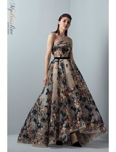 Saiid Kobeisy RE3364 Skin multi-colored strapless pleated A-line dress with belt