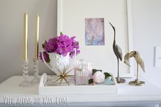 Styled vanity tray with art, gold/brass and pink #dittoDIY