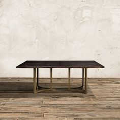 """Nobelle 60"""" Dining Table with Lyon Base in Aged Brass"""