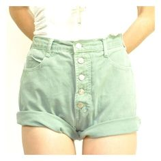 ViNTAGE HiGH-WAiSTED SAGE JEANS SHORTS ❤ liked on Polyvore