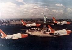 """USMC North American Fury fighters of """"Diamondbacks"""" Squadron, fly past The Statue of Liberty, Naval Aviator, Air Machine, Us Marines, United States Navy, Marine Corps, Usmc, Military Aircraft, Statue Of Liberty, Past"""