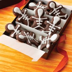 YUMMO - Easy Chocolate Skeletons - made these, except used royal icing instead of their recipe. Tasted like a brownie mix.
