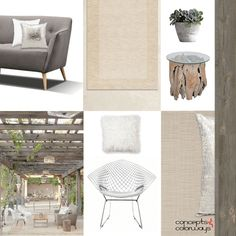 outdoor pavilion interior idea board, light tan rug, sand floor tile, distressed red toned wood side table, weathered wood wallpaper, white mongolian fur pillow, bertoia diamond chair, mid-century modern classic furniture, taupe gray sofa, white pillow, silver metallic pillow, pavilion with hanging ivy, outdoor living oasis, taupe wallpaper
